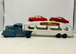 Marx Deluxe Auto Transport With Two Cars, Vintage 1940's