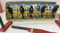 Vintage Jaymar Crow Shoot, Shooting Gallery Toy With Toy Rifle.