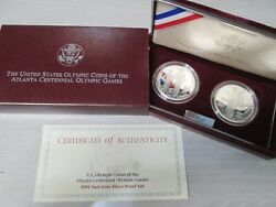 1995 Olympic Blind Runner And Gymnast 2 Coin Proof Silver Dollar Commemorative Set