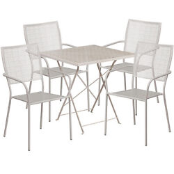28in Square Metal Folding Patio Table Set With 4 Square Back Chairs Light Gray
