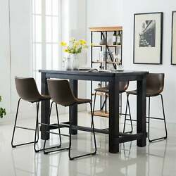 Bronco Antique Wood Finished Bar Dining Settable And Four