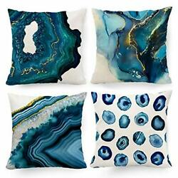 Navy Blue Decorative Pillow Covers 18 x 18 Marble 18x18 inch Marble blue