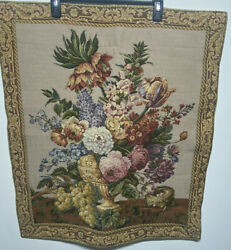 French wall tapestry hanging Floral Vase Victorian 29quot; x 25quot;