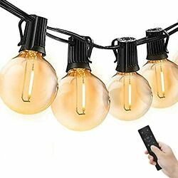 Outdoor String Lights With Remotes 50 Ft G40 Led Patio String Lights With Water