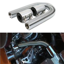 Silver 24in Car Radiator Flexible Coolant Water Hose Kit Stainless Steel W/2caps