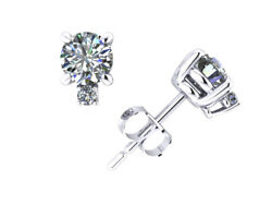 1.5ct Round Cut Diamond Stud Earrings With Accents 14k White Gold Prong I Si2