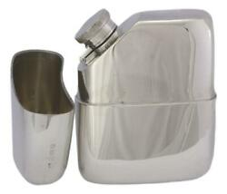 Antique - Solid Sterling Silver - 2 Part Hip Flask - William Neale - 1919