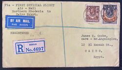 1932 Ndola Northern Rhodesia First Flight Cover Ffc To Cairo Egypt Imperial Air