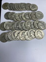 Full Dates Roll Of 40 10 Face Value 90 Silver Washington Quarters