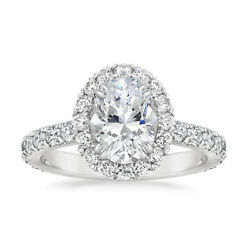 Oval Cut 1.75 Ct Lab Grown Diamond Engagement Ring 14k White Gold Size L M N O P
