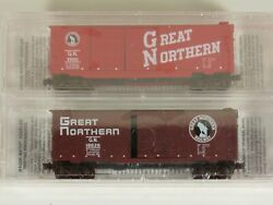 Micro-trains N Scale Lot Of 2 Freight Cars Great Northern, New
