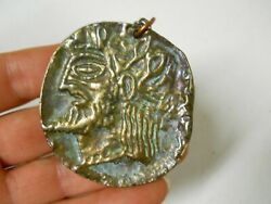 Brass Doubloon Roman God Greek Coin Medallion Necklace Costume Jewelry Nax 101a