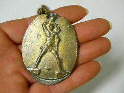Brass Doubloon Warrior God Goddess Deer Coin Medallion Necklace Costume Jewelry