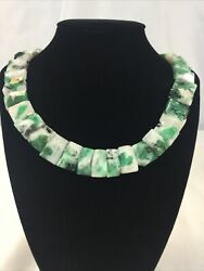"""Rough Emerald In Quartz Polished Raw Faceted Collar Necklace 16"""""""