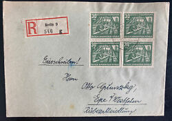1953 Berlin East Germany Ddr Cover To Epe National Reconstruction Program Block