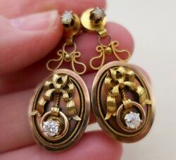 Antique French 14k Gold Victorian Diamond Bow Earrings Pierced Posts