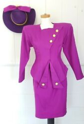 Vintage 80s Garyk Lee Couture Womens Suit With Hat Joan Collins, Joker...