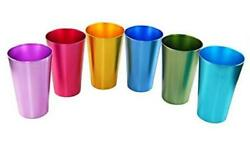 Colorful Aluminum Drinking Cups Set Of 6, Colored Metal Tumblers, Shatter