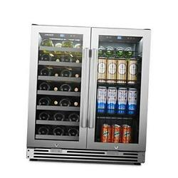 Stainless Steel Dual Zone Wine And Beverage Combo Cooler 31 Bottles 31-bottle