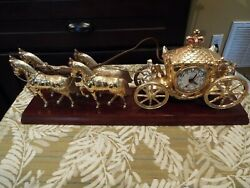 Vintage United Clock Corp Model 640 Horse-drawn Carriage Made In Usa