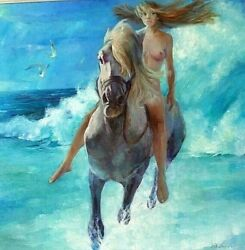 Girl And Hors Original Oil Painting On Canvas Large Wall Art Impasto Artwork