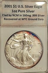 🇺🇸 20 Yrs.- 2001-pq Gem-toned Silver Eagle Recovered From Ground Zero-w.t.c.