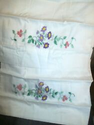 Hand Embroidered Pillowcases Floral Vintage Set Of 2