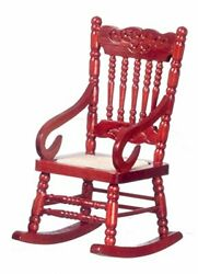 Dollhouse Miniature Mahogany Wooden Rocking Chair Wood Rocker For 1 Inch Scale