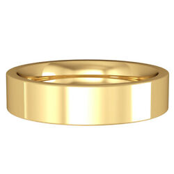 Jewelco London 18ct Yellow Gold 5mm Flat Court Wedding Band Commitment Ring