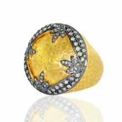 Natural Pave Diamond Solid 925 Sterling Silver Christmas Womens Ring Jewelry
