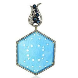 Natural Blue Agate Diamond Gemstone 925 Sterling Silver Womens Pendant Necklace