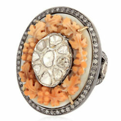 Natural Shell Cameos Diamond Gemstone 925 Sterling Silver Womens Ring Jewelry