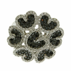 Natural Pave Diamond Solid 925 Sterling Silver Designer Band Womens Ring Jewelry