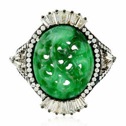 Natural Green Jade Diamond Gemstone 925 Sterling Silver Womens Gift Ring Jewelry