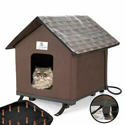 FURHOME COLLECTIVE Heated Cat Houses for Indoor and Outdoor Cats Chocolate