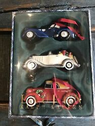 New Classic Roadsters Set Of 3 Cars Christmas Ornaments In Box