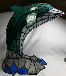 Style Stained Glass Dolphin End Table Lamp Multicolored