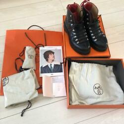 Hermes Pyrene Mountain Boots Size 27.5cm Black Leather