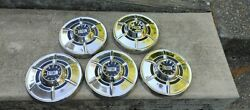 Ford Falcon/econoline Hubcaps Wheelcover Center Caps Vintage Set Of 5 Chrome