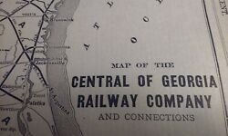 Rare 1903 Railroad Map Central Of Georgia Railway Company And Connections 8 X 12