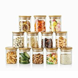 12 Sets 6 Oz Small Clear Glass Storage Canister Holder With Airtight Bamboo L...