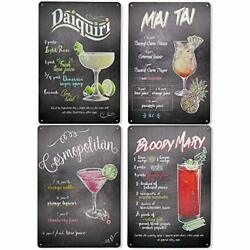 Stoncel 4pc Vintage Tin Sign Cocktail Tin Painting Retro Metal Signs Home Wal...