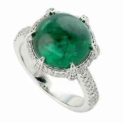 Natural Emerald Diamond Gemstone Solid 925 Sterling Silver Womens Ring Jewelry