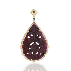 Natural Carved Ruby Diamond Gemstone 925 Sterling Silver Womens Pendant Necklace