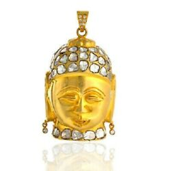 Natural Pave Diamond 925 Sterling Silver Buddha Design Womens Pendant Necklace