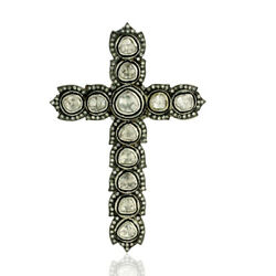 Natural Pave Diamond Solid 925 Sterling Silver Religious Womens Pendant Necklace