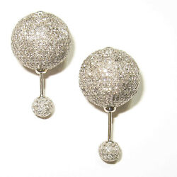 Natural Pave Diamond 925 Sterling Silver Christmas Womens Tunnel Stud Earring