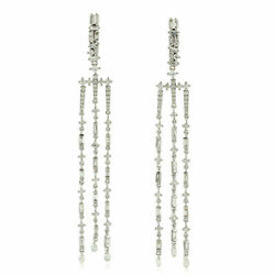 Natural Pave Diamond 925 Sterling Silver Christmas Womens Chandelier Earring
