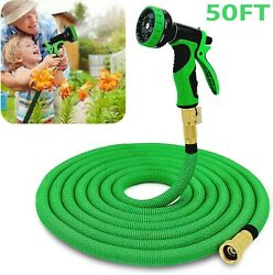 50ft Expandable Garden Water Hose With 3/4 Solid Brass Connectors For Watering