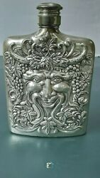 Godinger Silver Plated Flask Greenman / Bacchus Face / Repousse Relief